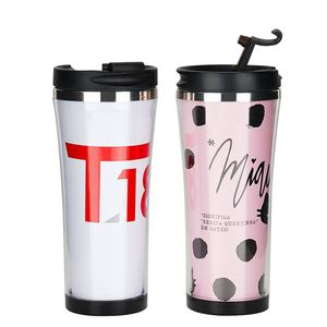 2018 best selling products private label cheap promotional bpa free 380ml removable paper insert plastic coffee mug