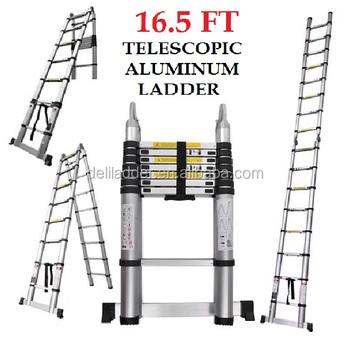 Euro Double Telescopic Aluminium Ladder 5 Meter 17 Feet Stores At