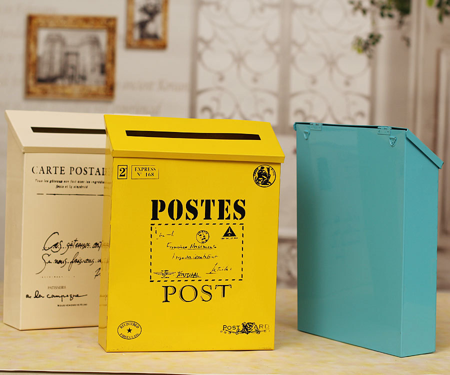 2016 wall mounted mailbox fashion vintage bucket tin newspaper boxes mail box metal letter post. Black Bedroom Furniture Sets. Home Design Ideas
