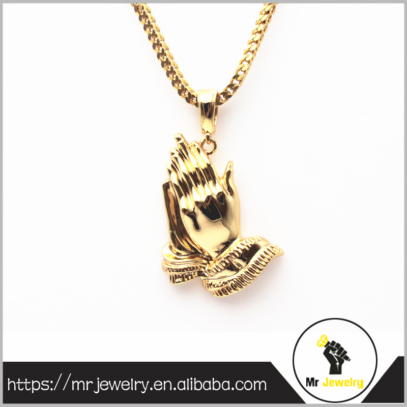 hip hop jewelry custom gold plated praying hands shaped pendant for men
