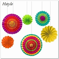 Set of 6 Colorful Paper Fans Round Wheel Pattern Fiesta Design for Parties, Birthdays, Barbecues, Holidays SDS012
