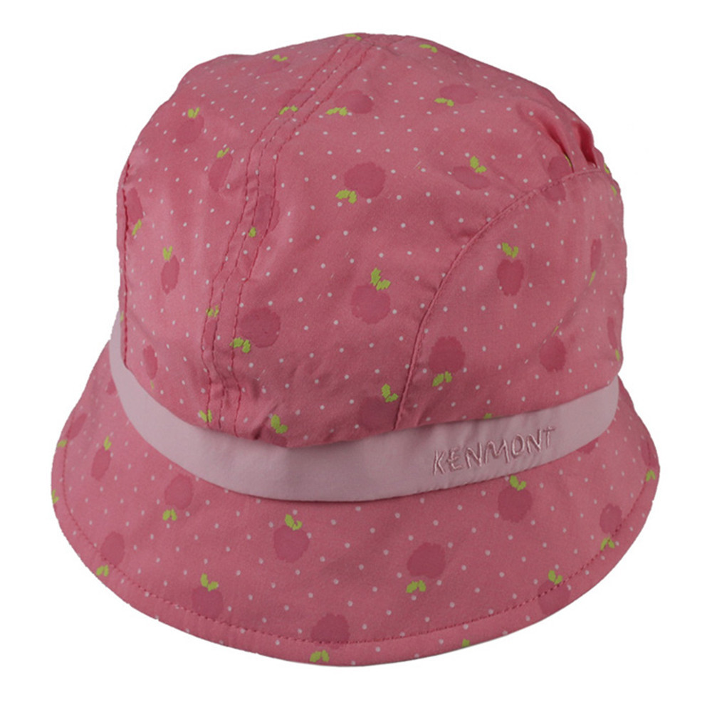 Kenmont brand Spring Summer Cute Baby Infant Girl 100% Cotton Bucket Sun Hats Boonie Cap Soft Fabric Pink Strawberry 0-1Y 0590