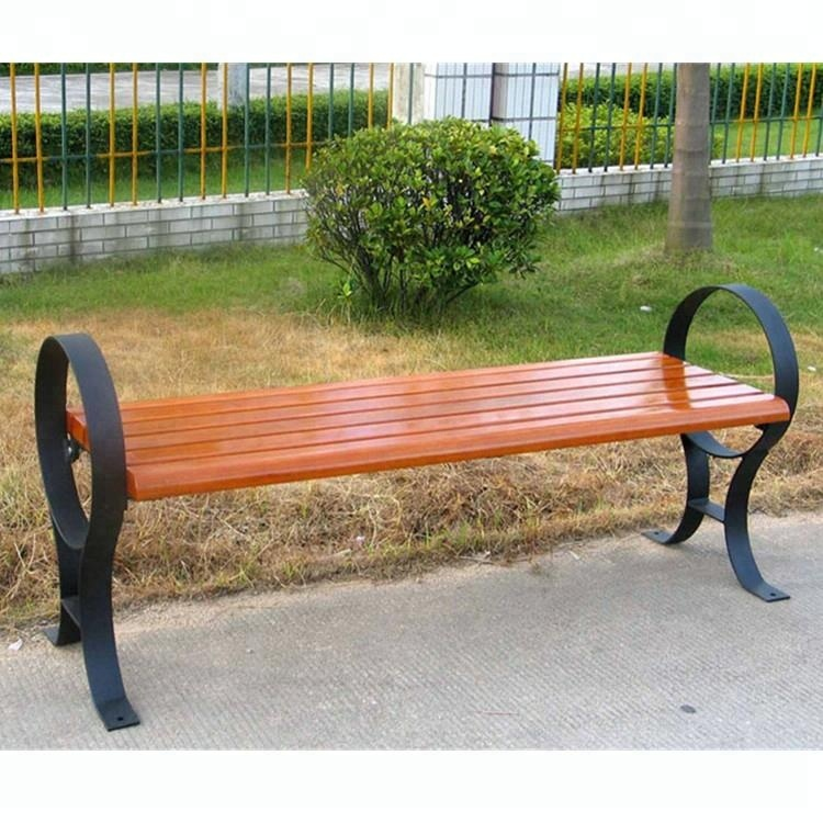 Wooden Seating With Metal Bench Brackets Backless Wood Bench
