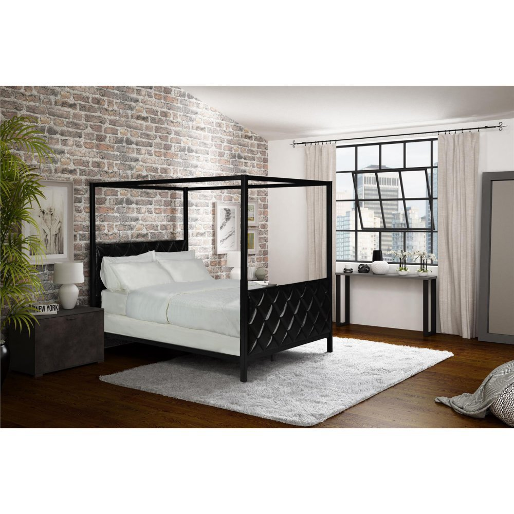 DHP Alford Premium Modern Upholstered Canopy Bed, Black Faux Leather Diamond Tufted Headboard with Sturdy Metal Frame, Queen