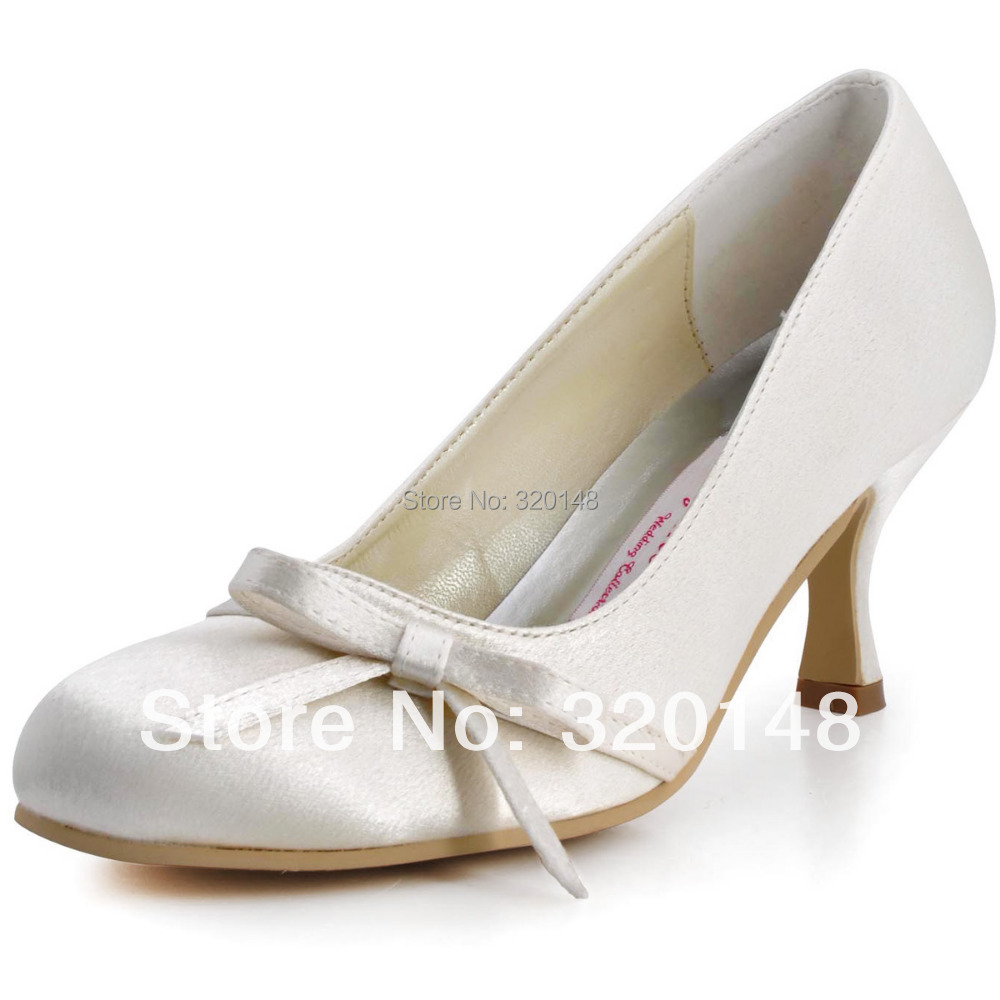 "Fashion A0756 Ivory White Round Toe Bow Satin Women's Pumps 2.5""/6.4cm Spool Heel Wedding Bridal Shoes"