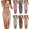 10 Colors S-3XL Spring dress women Sexy Club shiny slit push up slash neck party formal long black red vestidos dresses woman