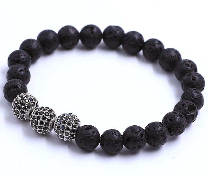 China Jewelry Alibaba Manufacturer Lava Stone Balck Buddha Bead With Diamond Stainless Steel Bracelet