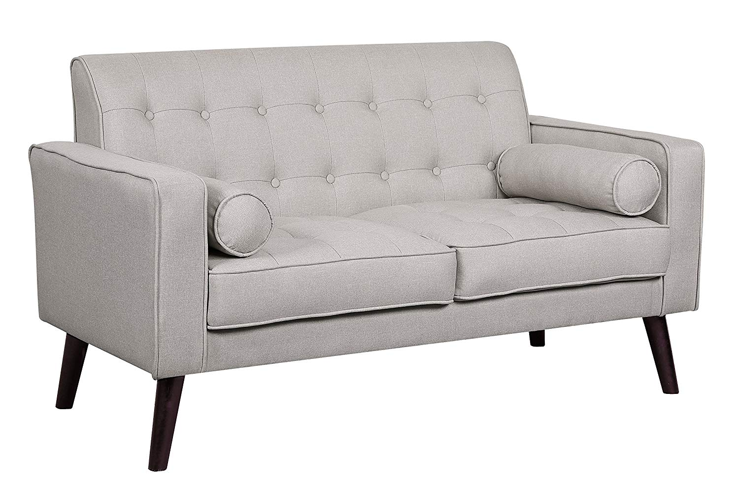 Container Furniture Direct S5304-L Valadez Linen Upholstered Tufted Mid-Century Modern Loveseat with Bolsters, Beige/Light Grey