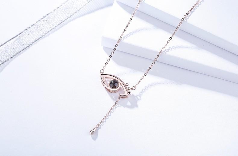 S925 Sliver INS Popular Projected Eyes Design Pendant Necklace