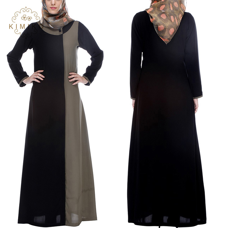 Classy Abaya 2017 Front Open Casual Two Color Long Muslim Dress