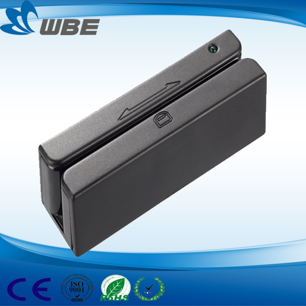 90mm triple track RS232/ USB/ PS2 interface high quality magnetic stripe card reader