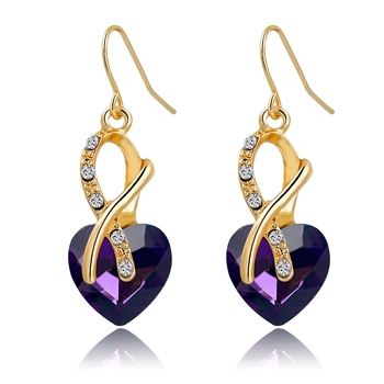 Purple Heart Shape Crystal Earring Gold Hook