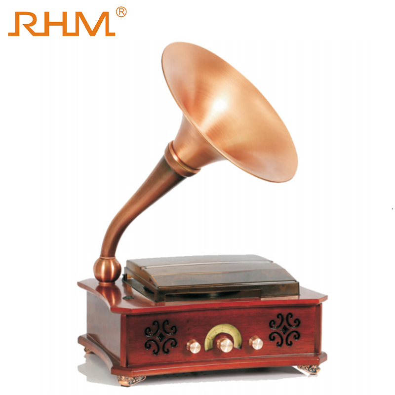RHM good quality electric wooden antique gramophone with brass horn