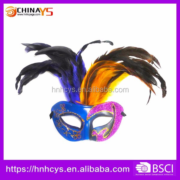 China Manufacturer Excellent High Grade Level plastic feather carnival masks for party