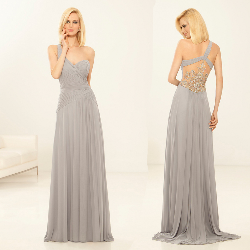d9dbfcfa8e6ff Get Quotations · Elegant Gray Bridal Mother Gowns One Shoulder  Directionally Pleated Bodice Chiffon Tea Length Mother of Bride
