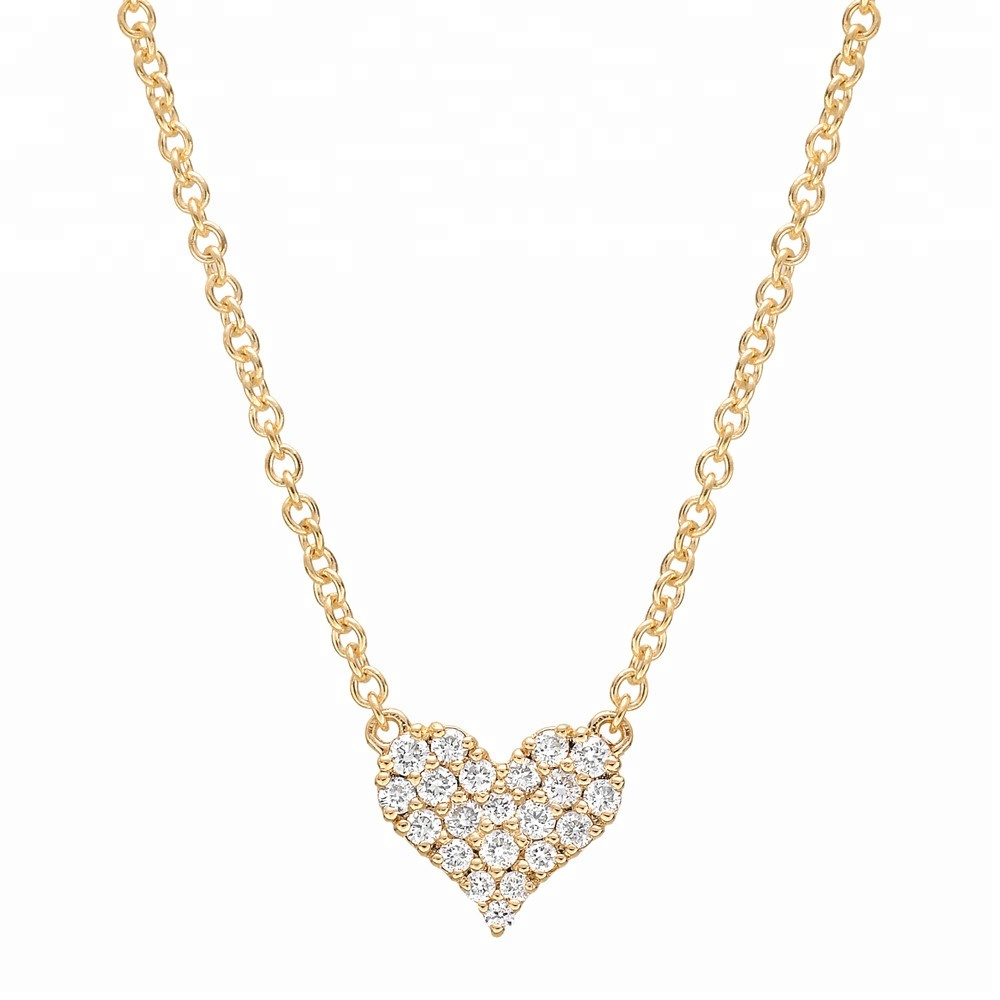 Real Diamond Jewelry 750 Yellow Gold Heart Pendant Necklace For Girl View Diamond Gold Necklace Vr Product Details From Guangzhou Vinca Rose Jewelry Co Ltd On Alibaba Com