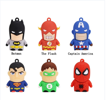 Lowest Price!!! 2017 China Superhero cartoon character USB flash drive with custom logo 1GB-1TB USB 3.0