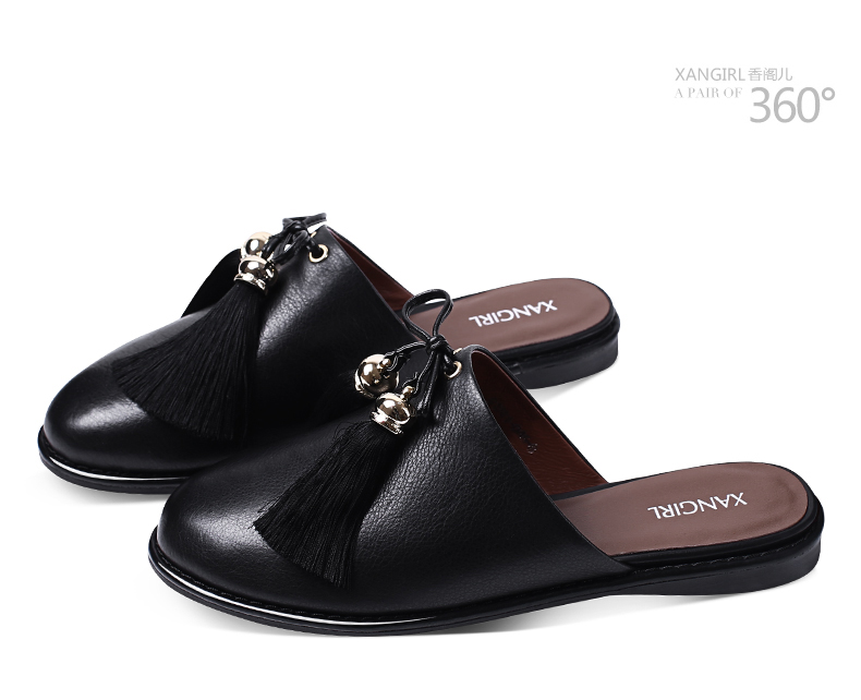 cowhide round black slipper women toe shoes accessories New arrival qFUIw80