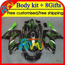 8Gift+Tank Green flames For YAMAHA YZF600R 2002 2003 2004 96-07 HM52 YZF 600R 600 YZF600 R 2005 2006 2007 green black Fairing