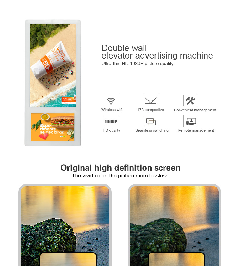 Super Slim Wall Mount 18.5inch Dual screens Elevator Digital Advertising Screen for Sale