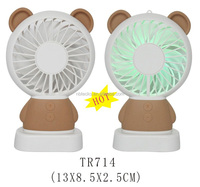 Cute shape mini desktop USB rechargeable fan with colored flash light