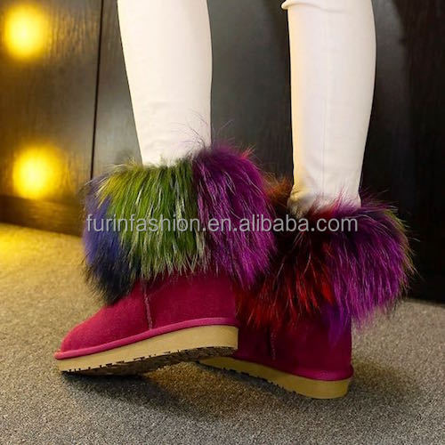 Wholesale Fluffy Real Colorful Raccoon Fur Strips for Women's Shoes&Boots Welt with Cheap Price