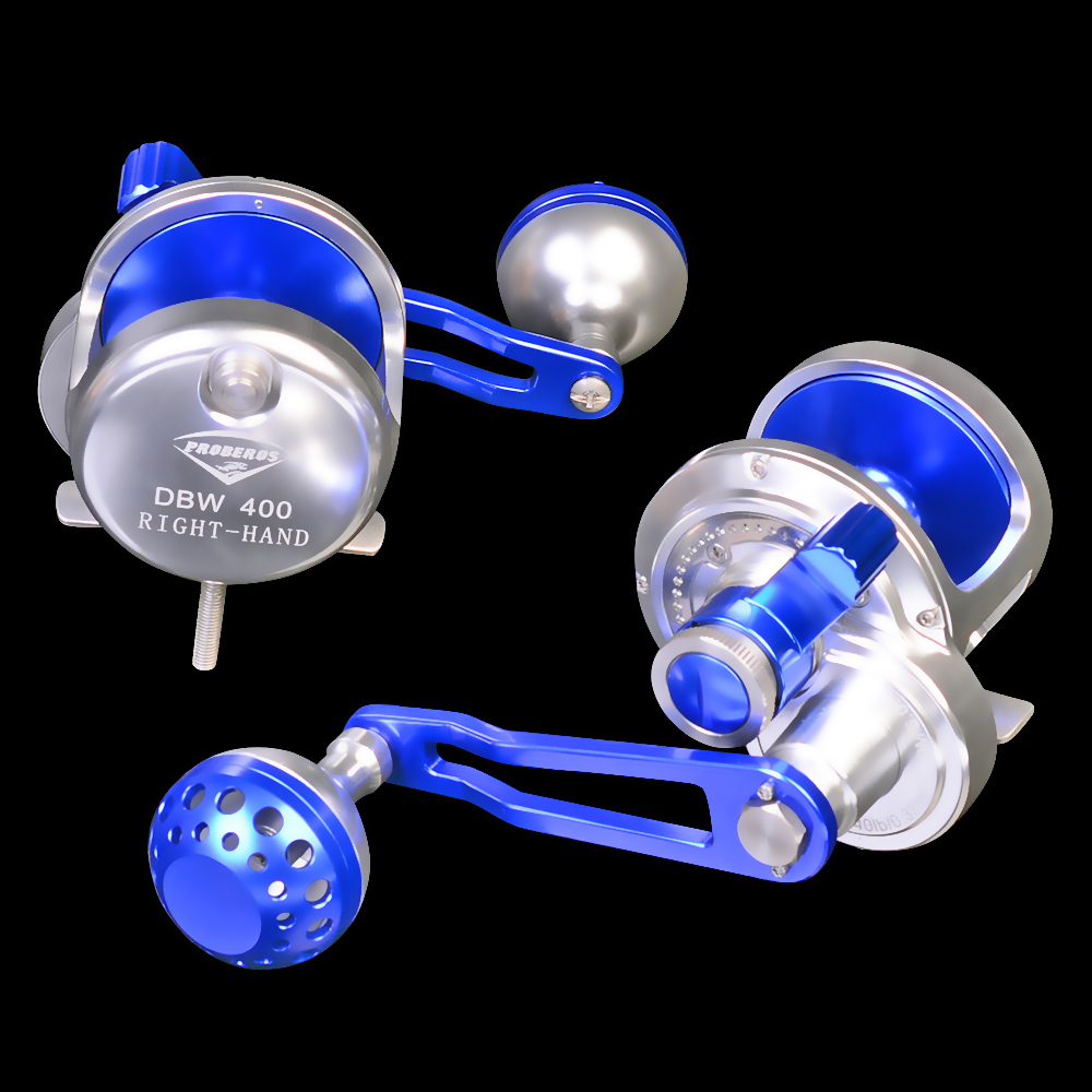 PRO BEROS Trolling Reels Aluminum CNC Machined Fishing Reel Max Drag Sea Boat 16kg&19kg Jigging Reel, Blue