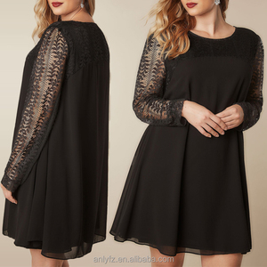 Lace plus size sexy women chiffon dresses long sleeve xxl