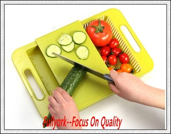 Elegant Kitchen Fruit Vegetable Combo Chopping Board Drawer Plastic Manual Chopper Cutting  Board Block
