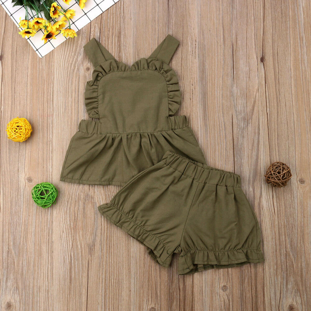 Infant Kid Baby Girl 0-24M Clothes Set infant summer solid Sling T-Shirts Tops Shorts Pants 2Pcs Outfit Clothes фото