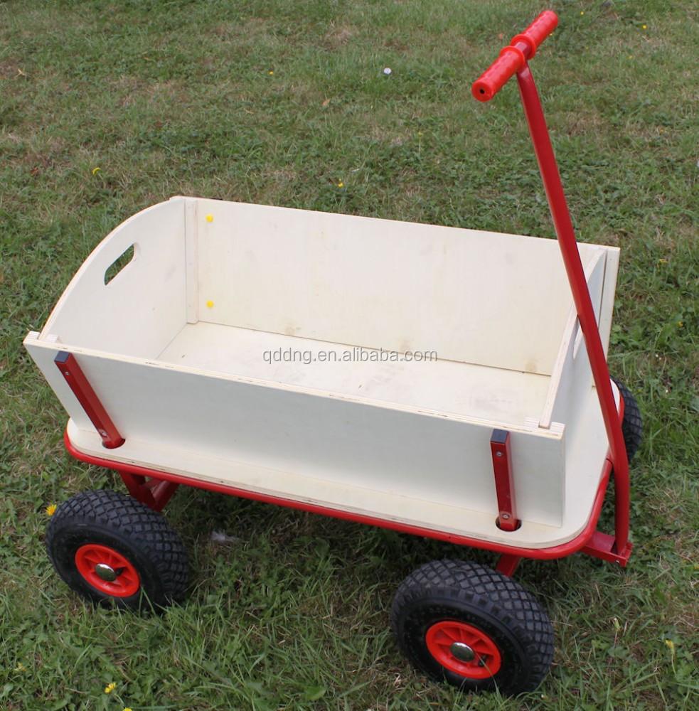 Wooden Garden Cart Wagon With Pneumatic Wheels Kid Wagon With Wooden Panels  Tc1812   Buy Wooden Garden Cart Wagon Trolley,Wooden Tool Cart With ...