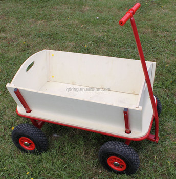 Wooden Garden Cart Wagon With Pneumatic Wheels Kid Wagon With Wooden Panels  TC1812