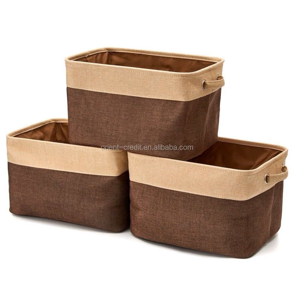Collapsible Storage Bin Basket [3-Pack] Folding Canvas Fabric Storage Cube Bin Set With Handles/For Home Storage