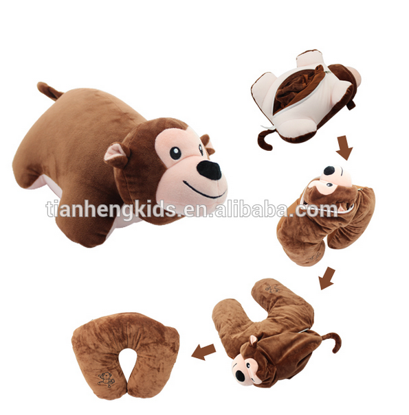 ICTI,CE,EN71,ASTM F963,CPSIA,AZO Free Microbeads pillow Filling Transformative Plush cute neck Pillow monkey toy