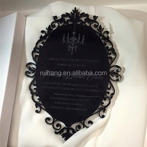 Black engraved muslim laser cut acrylic wedding invitation cards
