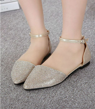 Bridal Gold Rhinestones Flats Shoes Ankle Strap Ladies Crystal ...