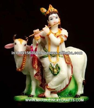 Marble Krishna Statue With Cow Idol Krishna Murti