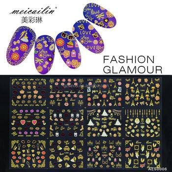 Latest Nail Art Flower Diamond Kiss Pattern Sticker For Nail Beauty