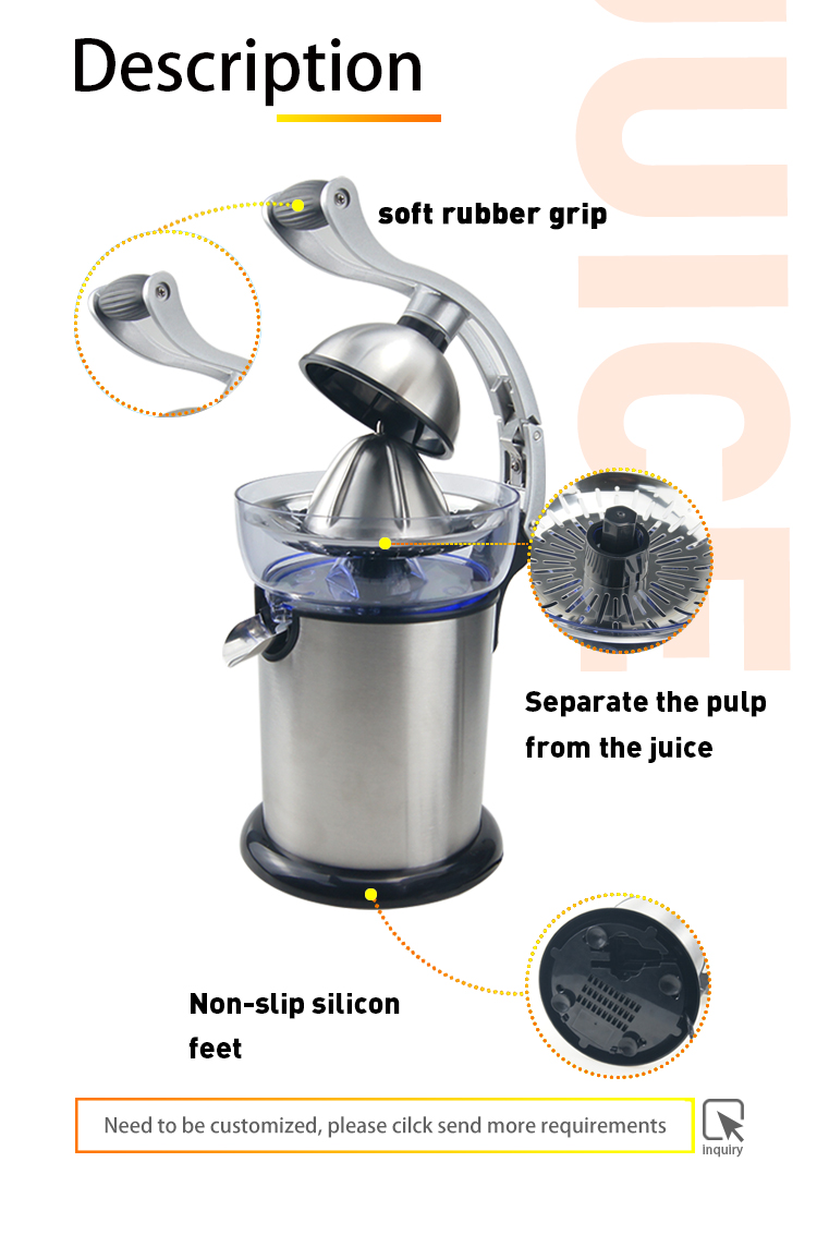 Stainless Steel Professional Electric Juicer With Suction Cup Anti-drip Nozzle In Aluminium Alloy With Silent Motor