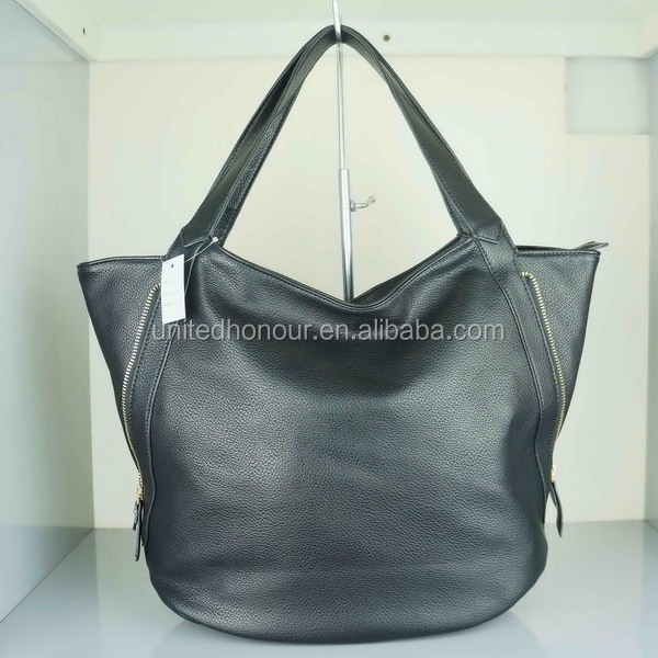 PU leather printing black color tote bag direct purse china
