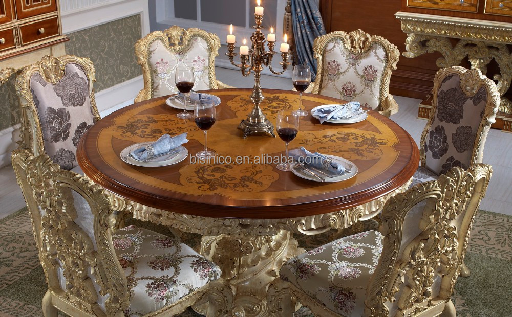 bisini luxe en bois rond table manger luxe style baroque salle manger furntiure table ronde. Black Bedroom Furniture Sets. Home Design Ideas