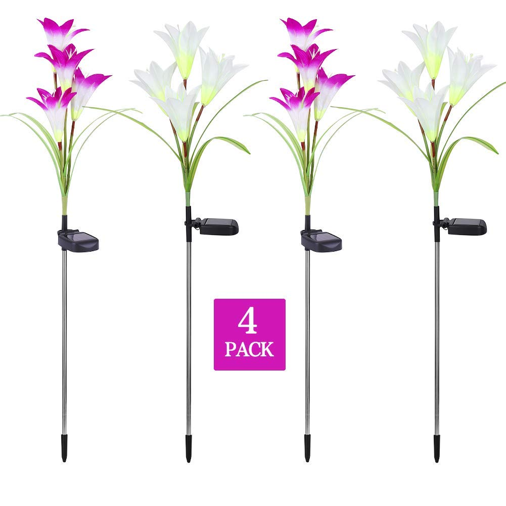 Outdoor Solar Garden Stake Lights,Doris Direct 4 Pack Solar Powered Lights 16 Lily Flower, Multi-Color Changing LED Solar Decorative Lights Garden, Patio, Backyard (Purple/White)