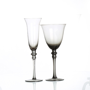 Food Safe Somke Gray Antique Colored Thick Stem Floating Goblet Wine Glass