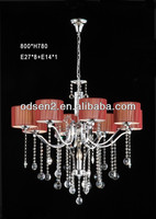 fabric coffee pedant lamp/light with clear crystal drops made in CHINA for hotel