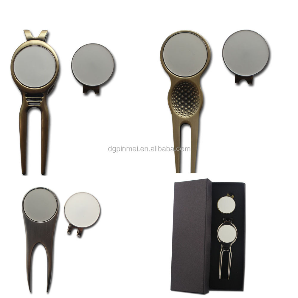 UV printing blank golf ball marker golf divot tool with gift box