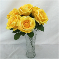 9 branches bunch yellow color silk rose floral