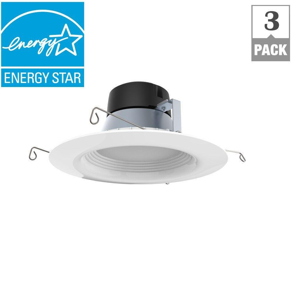 EcoSmart 65-Watt Equivalent Softwhite 6 in. White Integrated LED Recessed Trim (3-Pack)