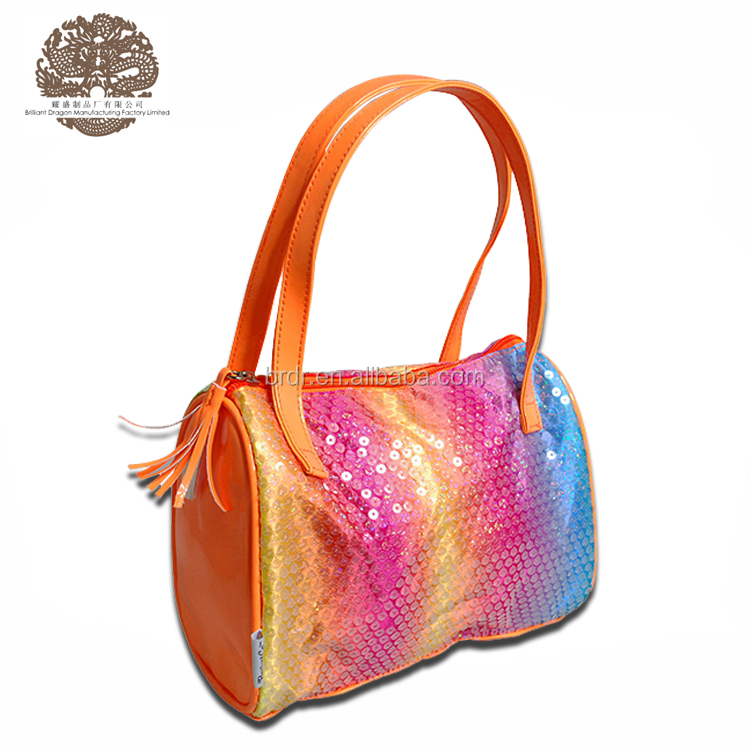 Custom fashion classic sequins leather bags women handbags lady for Little Girls