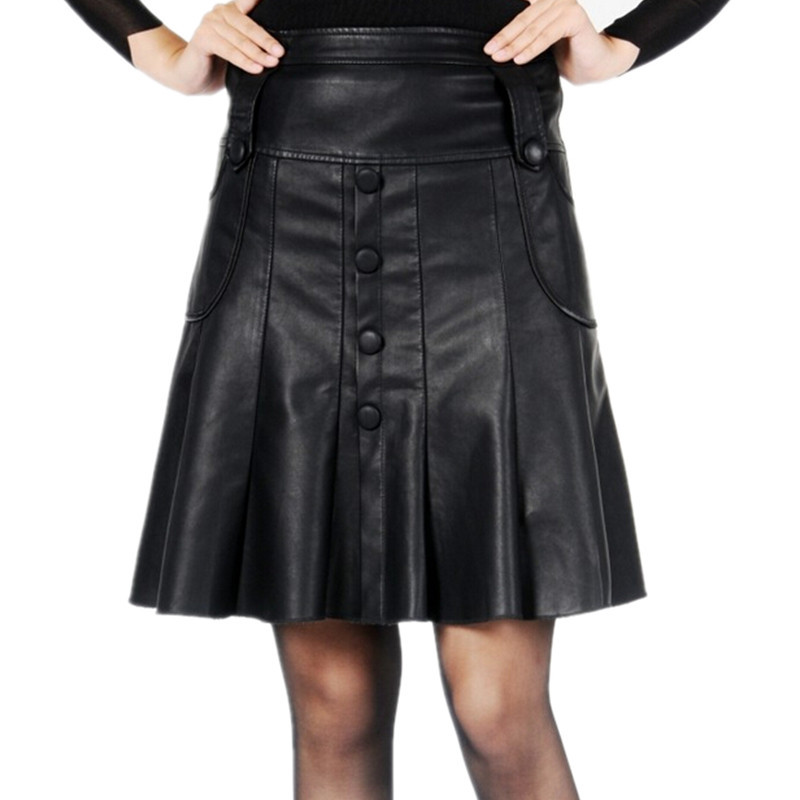 3b789ee4659 Free Shipping ! 2014 Women Leather Pleated Plus size Skirt