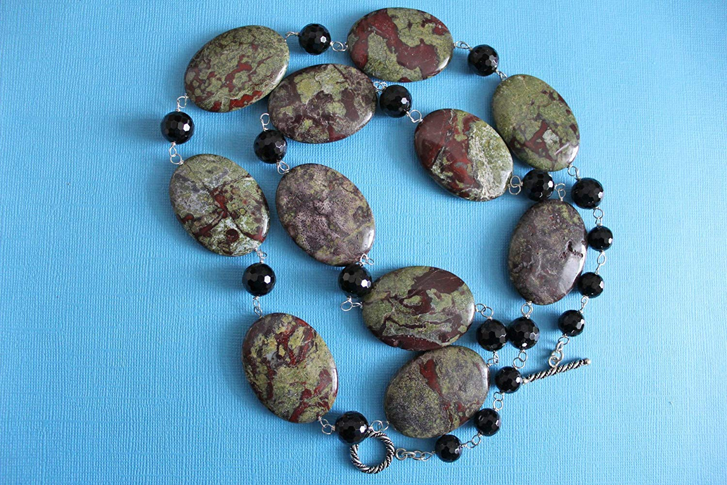 """Jasper Passion"" Dragon Blood Jasper and Black Onyx Long Necklace!"